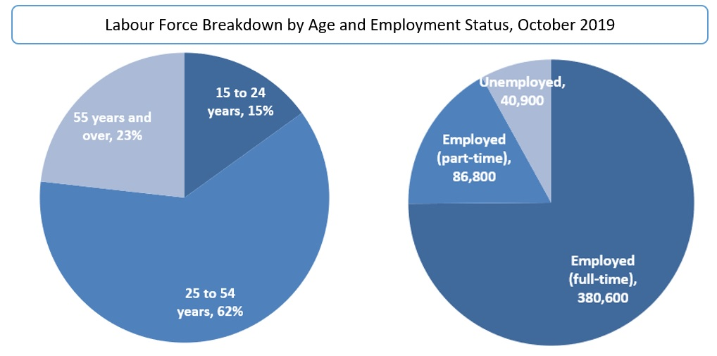 Labour Force Breakdown by Age and Employment Status, October 2019